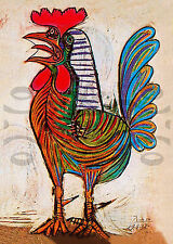 Picasso Poster/ 'Rooster'/Reproduction 1938/Colorful Kitchen Art 5x7 inch