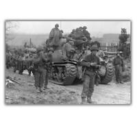 War Soldiers of 2nd infantry division M4 Sherman March in Harscheid Photo H