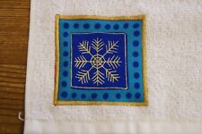 Christmas handmade decorated flannel face cloth blue turquoise gold snowflake