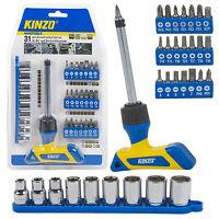 Kinzo 31pc Bit & Socket Tool Set Ratcheting Kit Magnetic Phillips Slotted Wrench