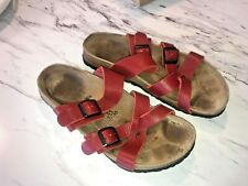 Birkenstock Tatami Sandals Red Leather 2 Buckle Size Women's 39 / US 8 - 8.5