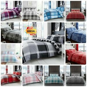 DUVET COVER SET Check Reversible Quilt Bedding Single Double Super King Size