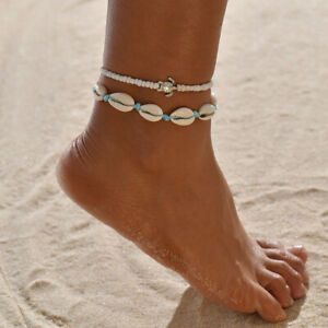 Boho Fashion Women's Turtle Shell Beaded Adjustable Beach Anklet Ankle Bracelet