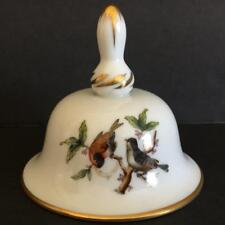 Vintage Herend Hungary Hand Painted Porcelain Rothschild Birds Butterfly Bell
