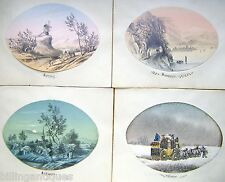 ENGLAND THE FOUR SEASONS SET ON BURNISHED PAPER OVAL PENCIL W/ COL ENG SCH C1830