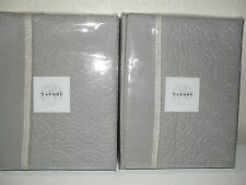 TWO NATORI LOTUS TEMPLE QUILTED STANDARD COVERLET SHAMS GREY