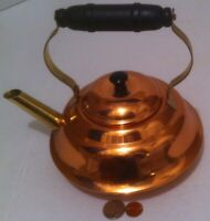 """Vintage Metal Copper and Brass Teapot, Tea Kettle, Made in USA, Coppercraft, 9"""""""