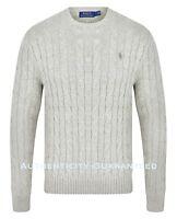 Ralph Lauren Men's Crew Neck Cable Knit Cotton Jumper Grey S - XL RRP £119 SALE!