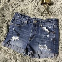Aeropostale High Rise Shorty Denim Blue Jean Distressed Short Shorts Size 2