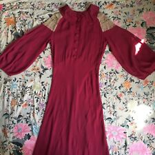 Vintage 1930s Raspberry Red Crepe Silk Dress Lace Inserts Huge Sleeves NRA Label