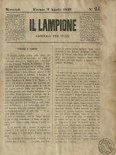 Il Lampione di Collodi Giornale Satirico Risorgimento N. 24 del 9 Agosto 1848
