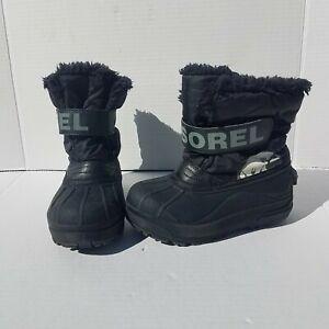 Sorel Boys Girls Snow Commander Winter Boots Size 12 Black Charcoal NC1877-010