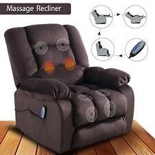 "Fabric Massage Chair Sofa w/Heated Vibration Manual Recliner 23""W Padded Cushion"