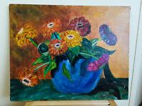 tableau ancien huile sur toile BOUVRY (XXe-s) nature morte aux fleurs