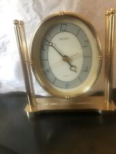 Seiko Brass and Lucite Desk ,Table or Mantel Clock Japan