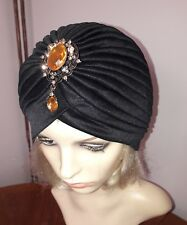 vintage inspired 1920s1930s style black hat turban onesize with beautiful brooch