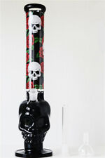 "17.32"" Glass Hookah Black Skull Shisha Bong Smoking Pipe Water Pipe In Box"