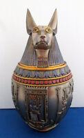 Egyptian Jackal God of the Dead Anubis Canopic Jar Memorial Funeral Urn #1402