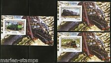 NIGER 2015 STEAM  TRAINS  SET OF THREE DELUXE S/S IMPERF MINT NH