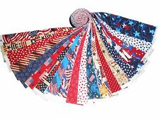 "20 2.5"" Quilting Fabric Jelly Roll Strips Patriotic Red White and Blue NOW !!#2"