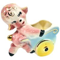 Vintage American Pottery Lamb Planter 1950s Pottery Pink Baby Shafer 23k Gold