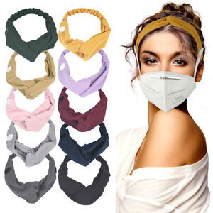 10 PCS Headband with Buttons for Face Mask, Headbands for Women Stretchy Bands