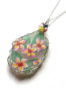 "Plumeria flowers necklace hand painted sea glass 18"" chain & Fire polished beads"