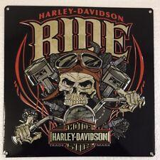 Ande Rooney HARLEY DAVIDSON RIDE BONE Tin Skull Motorcycle Garage Man Cave Sign