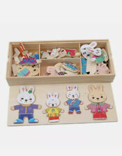 Montessori Wooden Rabbit Puzzles Educational Dress Changing Toys For Kids SD