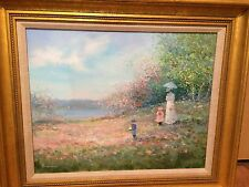 "ORIGINAL Oil Painting SIGNED Lrge 16""x20 Rowenna Anderson Family Stroll Art work"