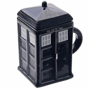 NOVELTY SQUARE LONDON POLICE BOX SHAPED COFFEE MUG TEA CUP WITH LID NEW IN BOX *