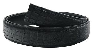 QHA Mens Alligator Automatic Replacement Belt Strap For Men No Buckle 35mm Wide