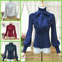 Medieval Renaissance Gothic Palace Flared Blouses Lolita Shirt Tops Bow Tie Lace
