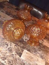 Vintage Amber Diamond Quilt Pattern Globes.