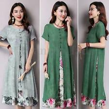 Zanzea Women Short Sleeve Retro Floral Cotton Linen Kaftan Loose Long Maxi Dress