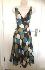 Monsoon Green Cream Khaki Black Silk 50's Polka Dot Summer Occasion Dress 12