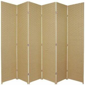 Woven Room Divider Screen Beige 6 Panel