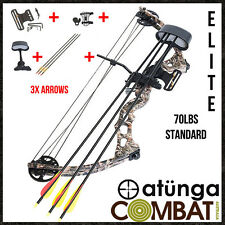 NEW Elite Camo 70lbs Compound Bow & Arrow Complete Pack Archery Hunting + EXTRAS
