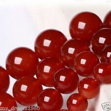 Real Natural 8mm Red Jade Round Gemstone Loose Beads 15''Strand