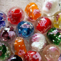 10Pcs 12mm Luminous Glass Round Loose Beads Rose Flower Making Jewelry DIY HOT