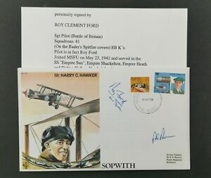 RAF-BATTLE OF BRITAIN COVER SIGNED BY SGT PILOT ROY FORD.