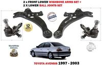 FOR TOYOTA AVENSIS 1997-2003 2 X FRONT SUSPENSION WISHBONE ARMS + BALL JOINT SET