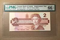 Canada BC-55bA-i 1986 $2 Thiessen | Crow S/N EBX - CBNC - Replacement PMG 66 EPQ