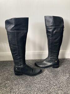 DUNE Soft Genuine Leather Black Knee Boots UK Size 7 (40)