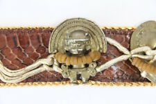 Lisandro Sarasola Designer Leather Belt Vintage Rare Art Metal Inca Headdress