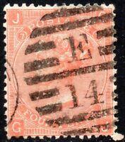 1865 Sg 95 4d deep vermilion 'GJ' Plate 7 with London Duplex Cancel Fine Used