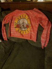 Guns N' Roses Red Pink Sweatshirt Sweater Crop Top Bravado Medium Hair Metal