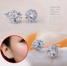 Fashion Gift Jewelry Women Classical Silver Crystal Rhinestone Ear Stud Earrings
