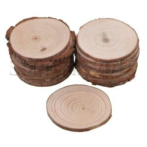 20pcs Wooden Slices Round Disc Tree Bark Log Wood Circles for Party Wedding Deco