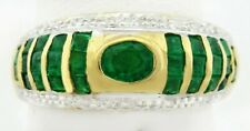 NATURAL 1.10 Cts COLOMBIAN EMERALD & DIAMONDS RING 14k GOLD * FREE SHIPPING